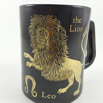 Vintage Horoscope Zodiac Mug Federal Glass Leo The Lion Coffee Cup Astrology Mug Coffee Mug Leo Mug Black And Gold Zodiac Mug