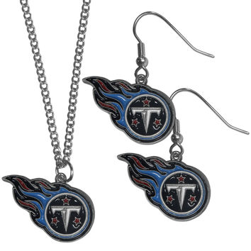 Tennessee Titans Dangle Earrings and Chain Necklace Set