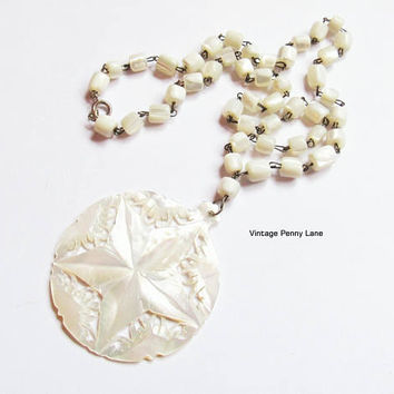 Vintage Mother of Pearl Bead Necklace, Carved Pendant