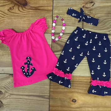 FREE HEADBAND!! Hot Pink & Navy Anchor Capri Outfit