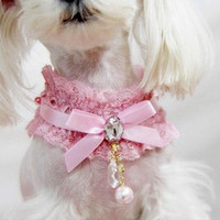 Pink Pet Cat Lace Pearl Pendant Collar Princess Necklace Dog Collar