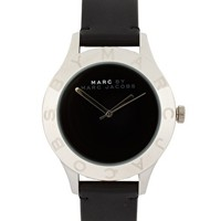 Marc By Marc Jacobs Black Leather Strap With Silver Round Face at asos.com