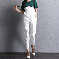 New 2017 Summer Women Boyfriend Ripped Hole Denim Jumpsuits Casual Loose Romper Ladies' Strap Denim Pencil Overalls E774