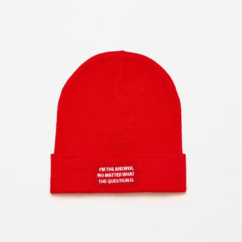 KNIT HAT WITH TEXT DETAILS
