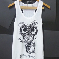 Cute Owl tank top, baby owl bird, Believe in yourself size S/M/L/XL White tshirt Unisex Women tshirts, Men singlet, t shirts