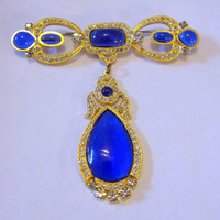 1980s Butler and Wilson Jewelry, Wedding Jewelry Brooches,  Blue Brooch Bride Wedding Sash Pin