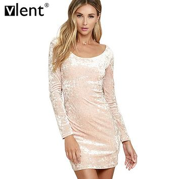 Vlent Robe Sexy Pink Velvet Spring Dress 2017 Vintage Ladies Long Sleeve Winter Dresses Pull Femme Elegant Women Bodycon Dress