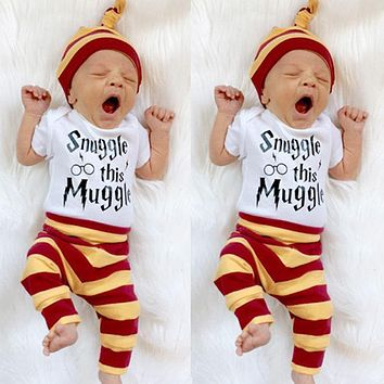 Snuggle this Muggle Baby Boys Girls Romper Pants Hat 3Pcs Outfit Set Clothes