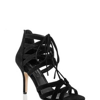 White House | Black Market Strappy Lace Up Black Gladiator Heel