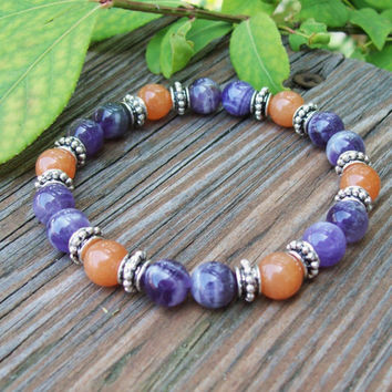 Amethyst and Aventurine Gemstone Bracelet - Stretch Beaded Bracelet - Meditation - Bohemian