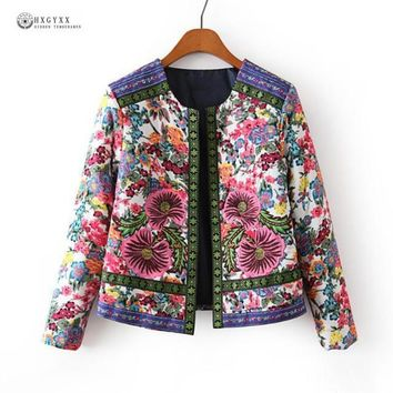 Trendy New 2018 Autumn Winter Women Outerwear Vintage Women Lady Ethnic Floral Print Embroidered Short Jacket Slim Parkas Coat XQ1901 AT_94_13