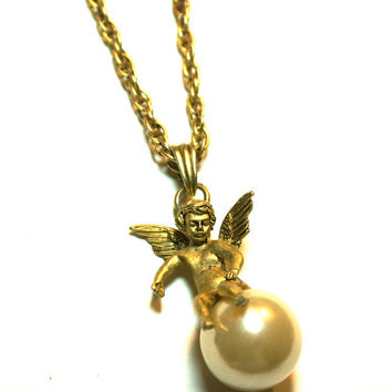 Cherub Necklace with Faux Pearl Long Twisted Rope Chain Gold Tone