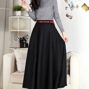 High-end Custom skirts womens 2017 Autumn Winter Long Maxi A-line Vintage Black Pleated Wool Skirt