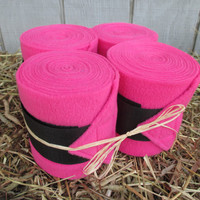 Set of 4 Polo Wraps for Horses- Hot Pink with Black Velcro Closure