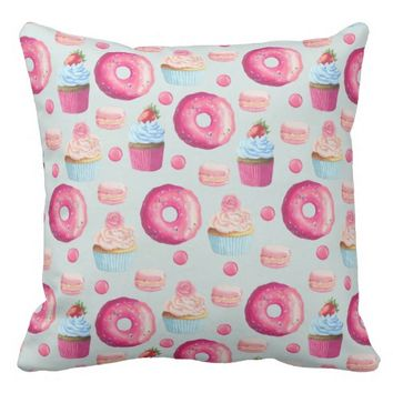 Donuts Macarons And Cupcake Pattern In Watercolor Throw Pillow