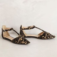 Speckled Calf Hair T-Straps by Sbicca Black 8 Wedges