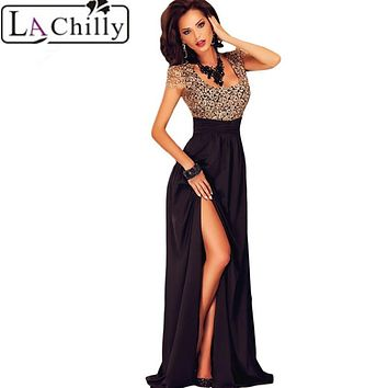 La Chilly Party Elegant autumn winter Dresses Longo 2017 sexy Women's Amazing Gold Lace Overlay Slit Maxi Evening Gown LC60809