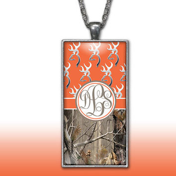 Camo Monogram Pendant Charm Necklace Orange Deer Head Personalized Country Girl Custom Initial Necklace, Monogram Jewelry