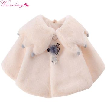 Winter Autumn Kids Baby Girls Princess Warm Windproof Party Snow Wear Cloak Outerwear Tops Coat