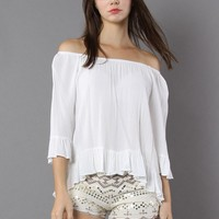 Flowy Delight Off-shoulder Top in White