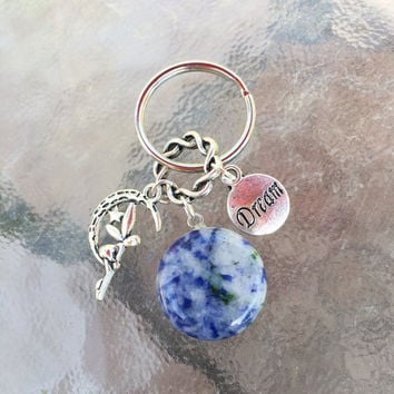 Sodalite Crystal, Pretty Fairy Charm and DREAM Tag Very Cute Keyring with FREE Bag & Angel Message Card.Healing Energy Infused. TEMPT
