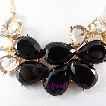J. Crew Style Inspired Flower Bubble Necklace ,Statement Necklace,bridesmaid gifts, bib necklace/ black