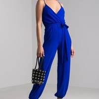AKIRA Wrap Front Cuffed Leg Lightweight Jumpsuit in Black, Neon Royal
