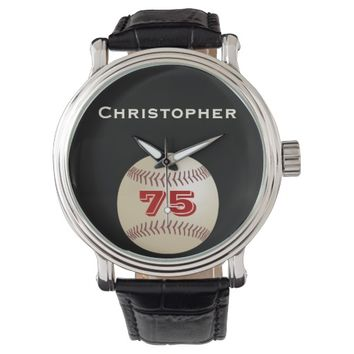 75th Birthday Wrist Watch, Personalized, Baseball Watch