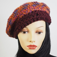 Cyber Monday - Ready to ship - Fashion knit hat - Rust & burgundy knit hat - Crochet beret - Woman winter hat - OOAK hat - Woman knit hat