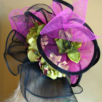 Black Fuchsia Green OOAK Race Hat Kentucky Derby Royal Ascot Dubai Preakness Belmont Church Hat Mother of the Bride