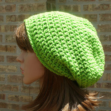 Slouchy Hat - The Eden in Limelight - Slouchy Beanie - Gamer Hat - Mens Hat - Womens Hat