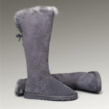 UGG Fox Fur Tall Boots 5369 Grey Popular