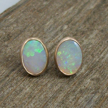 Opal Earrings Solid 14k Gold AAA Grade Opal, Post Earrings, Stud Earrings, Ethiopian Opal 8x6, Handmade Earrings