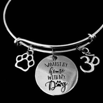 Namaste Home with My Dog Expandable Charm Bracelet Adjustable Silver Wire Bangle Paw Print Om Yoga Inspired Jewelry One Size Fits All Gift