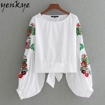 Vintage Women Floral Embroidery Blouse Lantern Sleeve O Neck Back Hem Bow Tie White Autumn Shirts Fashion Tops
