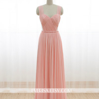 Blush Pink Chiffon Bridesmaid dress Long Prom Dress See Through Backless Dress