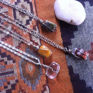 Wire Wrapped Crystal Necklace - Quartz Crystal -  Agate - Unakite - Citrine - Free Shipping - Crystal Healing - Healing Jewelry #139