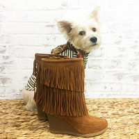 Vintage FRINGE Minnetonka Brown Suede Wedged Heel Boho Boots || Bohemian Festival Hippie Ankle Calf Boots || Size 6 to 6.5