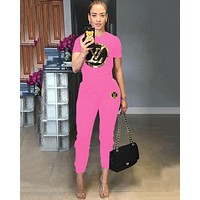 LV Louis Vuitton Newest Hot Sale Women Sequins Short Sleeve Top Pants Trousers Set Two-Piece Sportswear Pink