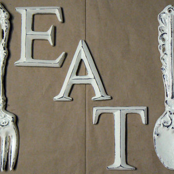 Fork Spoon Eat Wall Decor Set Shabby Chic Cream Off White Rustic Weathered  Distressed Kitchen Home