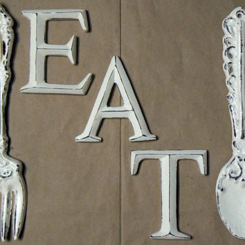 Fork Spoon Eat Wall Decor Set Shabby Chic Cream Off White Rustic Weathered Distressed Kitchen Home Decor Oversized Country Chic Wall Art
