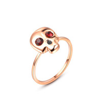 Red Crystal Eye's Fashion Skull Ring for Women Gold Plated