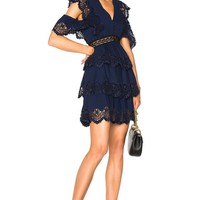 Tyler Tiered Embroidered Mini Dress