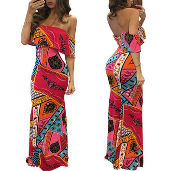2016 hot summer dashiki print clothing ladies maxi summer dresses casual checked Slash neck  backless dress
