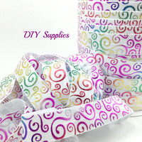 5 yards 1 inch  Swirls metallic fold over elastic, FOE, Wholesale elastic, headband elastic,  elastic by the yard