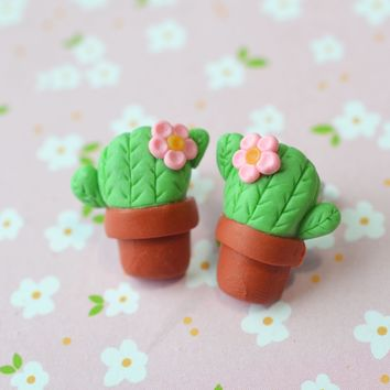 Flowering Cactus Post Earrings, Polymer Clay Miniature Stud Earrings