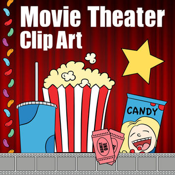 Movie Theater Clip Art, Theater Clipart, Drive In Clip Art, Movie Themed Classroom, Instant Download Cinema, Popcorn Clip Art, Candy Clipart