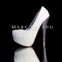 """6"""" Heels, Off White Mixed Pearls, crystalized heels Stylish Pumps."""