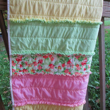 Handmade Bright Floral and Check Rag Lap Quilt, Bed Topper, Toddler Bed Quilt or Blanket, Citrus Colors with Pinks