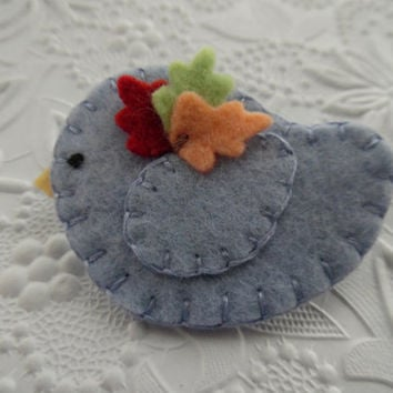 Felt Brooch Bird with Fall Leaves Pin Felted Jewelry Wool Birdy